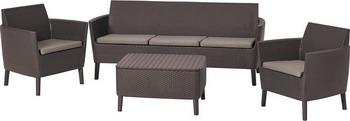 все цены на Комплект мебели Allibert Salemo 3 seater set коричневый 17205990 онлайн