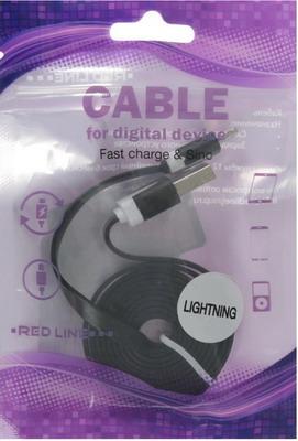 Фото - Кабель Red Line USB-8-pin для Apple (lite) черный 8 lite
