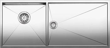 Кухонная мойка BLANCO ZEROX 400/550-Т-IF (чаша слева) нерж. сталь зеркальная полировка без клапана авт 521603 кухонная мойка blanco zerox 500 u нерж сталь зеркальная полировка без клапана авт 521589