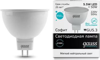 Лампа GAUSS LED Elementary MR 16 GU5.3 5.5W 4100 K 13526