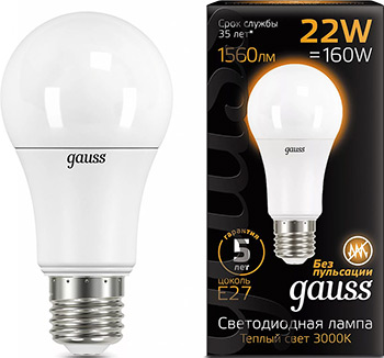 цена на Лампа GAUSS LED A 70 22 W E 27 1560 lm 3000 K 1/10/50 102502122