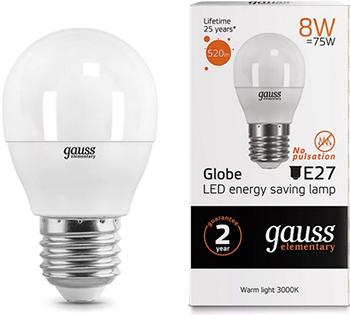 Лампа GAUSS LED Elementary Шар 8W E27 520lm 3000K 1/10/100 53218 рация baofeng uv 5r 8w 2 режима мощности