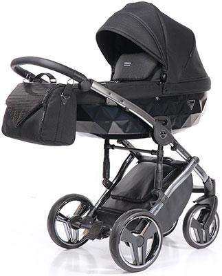 коляски 2 в 1 Коляска детская 2 в 1 Junama ONEX JON-04 (черный блестящий/черный/рама серебро) JON-04