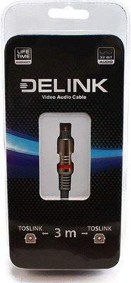 Кабель Delink TOSLINK-TOSLINK Metall Grey 3 0м оптоволоконный кабель toslink вилка toslink orient c813 длина 2 0м пакет