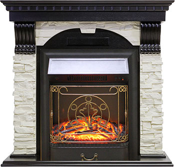 Каминокомплект Royal Flame Dublin арочный сланец белый с очагом Majestic FX Black (RB-STD3BLFX) (венге) цена