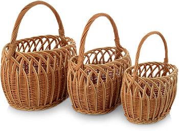 Набор из 3 грибных корзин Природный интерьер K 1260 S/3 набор из 2 грибных корзин природный интерьер k 2224 s 2