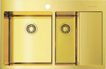 Кухонная мойка OMOIKIRI Akisame 78-2-LG-L светлое золото (4973087) кухонная мойка omoikiri akisame 65 lg l светлое золото 4973083