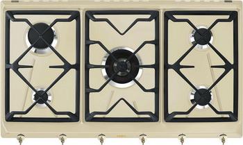 Встраиваемая газовая варочная панель Smeg SRV 896 POGH электрический шкаф smeg sf750po кремовый фурнитура латунная