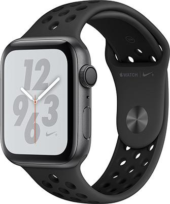 Часы Apple Watch Series 4 GPS 44 mm Nike черный (MU6L2RU/A) часы apple watch series 3 42 mm silver aluminium fog sport band mql 02 ru a