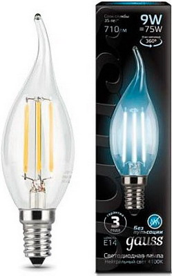 Лампа GAUSS Filament Свеча на ветру E 14 9W 4100 K 104801209 gauss лампа светодиодная gauss filament candle свеча на ветру прозрачная e14 9w 4100k 104801209