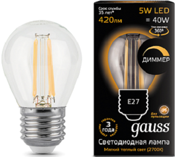 Лампа GAUSS Filament dimmable E 27 5W 2700 K 105802105-D лампа gauss led globe e 27 6 5w 2700 k 105102107