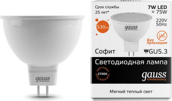 Лампа GAUSS LED Elementary MR 16 GU5.3 7W 3000 K 13517 фигурка садовая marquis 125 mr 125 mr керамика