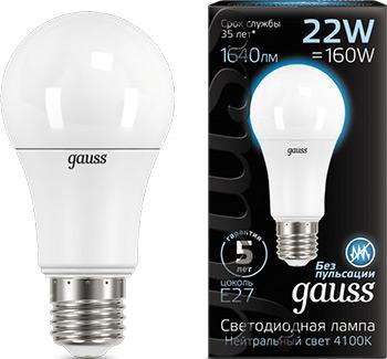Лампа GAUSS LED A 70 22 W E 27 1640 lm 4100 K 1/10/50 102502222