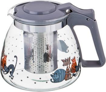 Чайник заварочный Agness КОТЫ 900 мл. серый 885-021 rainstahl заварочный чайник 7201 90 rs tp 900 мл стальной