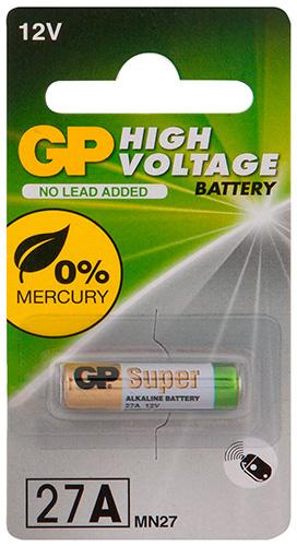 Батарейка GP 27A (MN27) с повышенной емкостью 1 шт. 27AFRA-2C1