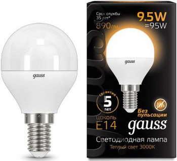 купить Лампа GAUSS LED Globe E 14 9.5W 3000 K 105101110 онлайн