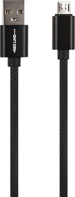 Фото - Кабель Red Line USB-micro USB 2.4А нейлон. оплетка черный (мягкий футляр) магнитный свет зарядное устройство нейлон плетеные micro usb тип c магнитный кабель для samsung iphone