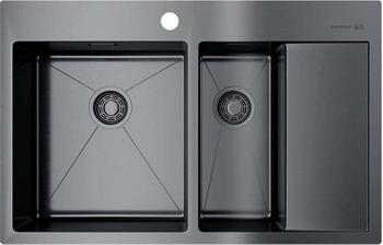 Кухонная мойка Omoikiri Akisame 78-2-GM-L вороненая сталь (4973101) кухонная мойка omoikiri akisame 78 gm r нерж сталь вороненая сталь 4973100