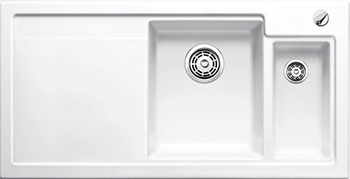 Кухонная мойка BLANCO 524137 AXON II 6 S (чаша справа) керамика глянцевый белый PuraPlus с кл.-авт. InFino кухонная мойка pegas 53 0 6 шлифованный глянцевый 530w ст