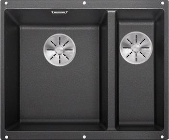 Кухонная мойка BLANCO SUBLINE 340/160-U SILGRANIT антрацит (чаша слева) с отв.арм. InFino 523548