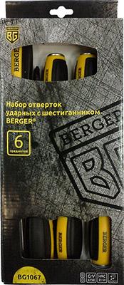 Набор отверток BERGER ударных с шестигранником 6 предметов BG 1067 набор отверток brigadier hd excell 6 предметов
