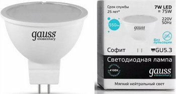 цены на Лампа GAUSS LED Elementary MR 16 GU5.3 7W 4100 K 13527  в интернет-магазинах
