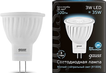 цены Лампа GAUSS LED MR 11 GU4 3W 300 lm 4100 K 1/10/100 132517203