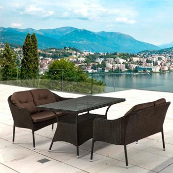 Комплект мебели Афина с диванами (иск. ротанг) 2и1 T 198 A/S 54 A-W 53 Brown цена 2017