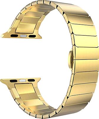 Фото - Ремешок для часов Lyambda из нержавеющей стали для Apple Watch 42/44 mm CANOPUS DS-APG-05-44-GL Gold смотреть ремешок ремешок весна бар ссылка pin remover ремонт инструмента из нержавеющей стали