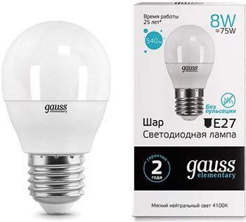 Лампа GAUSS LED Elementary Шар 8W E27 540lm 4100K 1/10/100 53228 лампа gauss led elementary свеча на ветру 8w e14 540lm 4100k 34128 упаковка 10шт