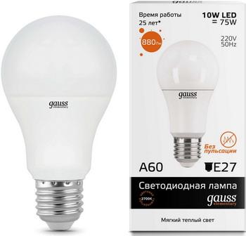 Лампа GAUSS LED Elementary A60 10W E27 880lm 3000K 23210 Упаковка 10шт gauss elementary a60 e27 15w 220v 3000k