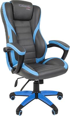 Кресло Chairman game 22 экопремиум серый/голубой 00-07023922