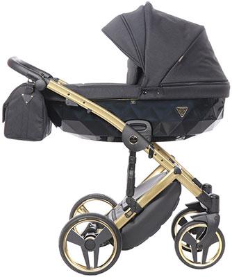 коляски 2 в 1 Коляска детская 2 в 1 Junama SAPHIRE JSH-03 (черный/рама золото) JSH-03