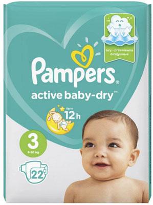 Подгузники Pampers Activ Baby-Dry 4-9 кг 3 размер 22 шт цена 2017
