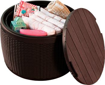 Сундук-столик Keter Circa Rattan Storage Box 140 L коричневый под ротанг 17202694 цена