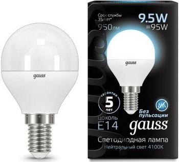 Лампа GAUSS LED Globe E 14 9.5W 4100 K 105101210