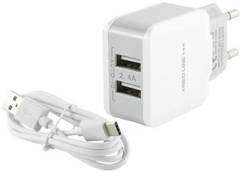 СЗУ Red Line 2 USB (модель NC-2.4A) 2.4A и кабель Type-C белый подвесной светильник kronem alva nc 2 4 13 016 c 2