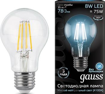 Лампа GAUSS LED Filament A 60 E 27 8W 780 lm 4100К 1/10/40 102802208 bm 60 3 e