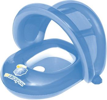 Круг надувной с сидением BestWay Лодочка с отверстиями для ног и тентом 34091 BW голубой круг надувной bestway лодочка 69 х 102 см розовый