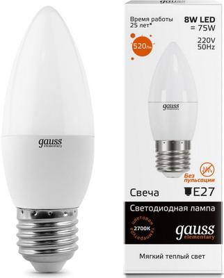 Лампа GAUSS LED Elementary Свеча 8W E27 520lm 3000K 33218 Упаковка 10шт лампа gauss led elementary свеча на ветру 8w e14 540lm 4100k 34128 упаковка 10шт