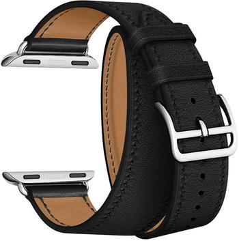 Ремешок для часов Lyambda в два оборота для Apple Watch 38/40 mm MERIDIANA LWA-01-40-BK Black lyambda ремешок двойной кожаный meridiana для apple watch 38 40 mm черный