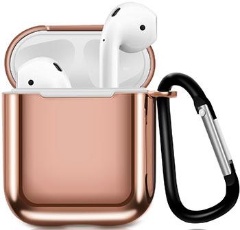 Фото - Чехол для наушников Eva Apple AirPods 1/2 с карабином - Розовый (CBAP07P) браслет розовый кварц 17 см биж сплав