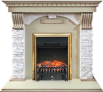 Каминокомплект Royal Flame Dublin арочный сланец крем с очагом Fobos BR (слоновая кость) цена
