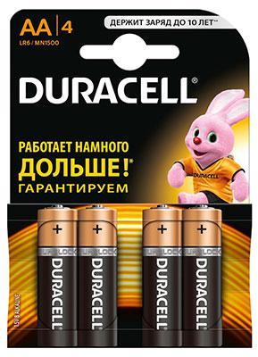 Батарейка Duracell LR6/MN 1500-4BL BASIC AA батарейка aa duracell lr6 mn1500 2 штуки