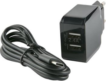 СЗУ Red Line 2 USB (модель NC-2.4A) 2.4A и кабель Type-C черный