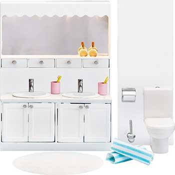 Мебель для домика Lundby LB_60208800 Смоланд Ванная с 2 раковинами