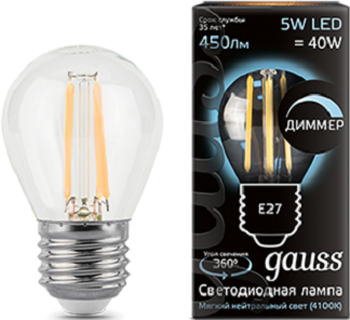 Лампа GAUSS Filament Шар dimmable E 27 5W 4100 K 105802205-D цена и фото