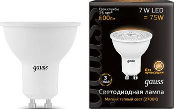 Лампа GAUSS LED MR 16 GU 10 7W 600 lm 3000 K 1/10/100 101506107 цена