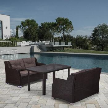 Комплект мебели Афина с диванами (иск. ротанг)2и1 T 51 A/S 51 A-W 53 Brown afina набор мебели асоль 2в иск ротанг