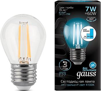 Лампа GAUSS LED Filament Шар E27 7W 580lm 4100K 1/10/50 105802207